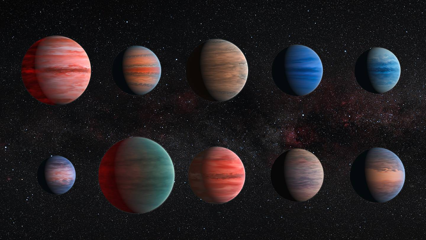 Artist's rendering of various planets