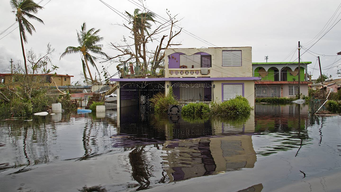 A flooded home in Puerto Rico