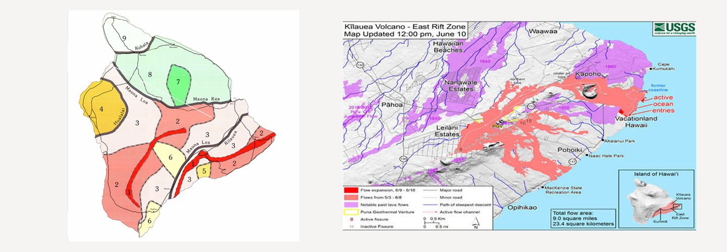 Map left shows areas of hazard, map on right shows that lava has flown as predicted by the hazard map