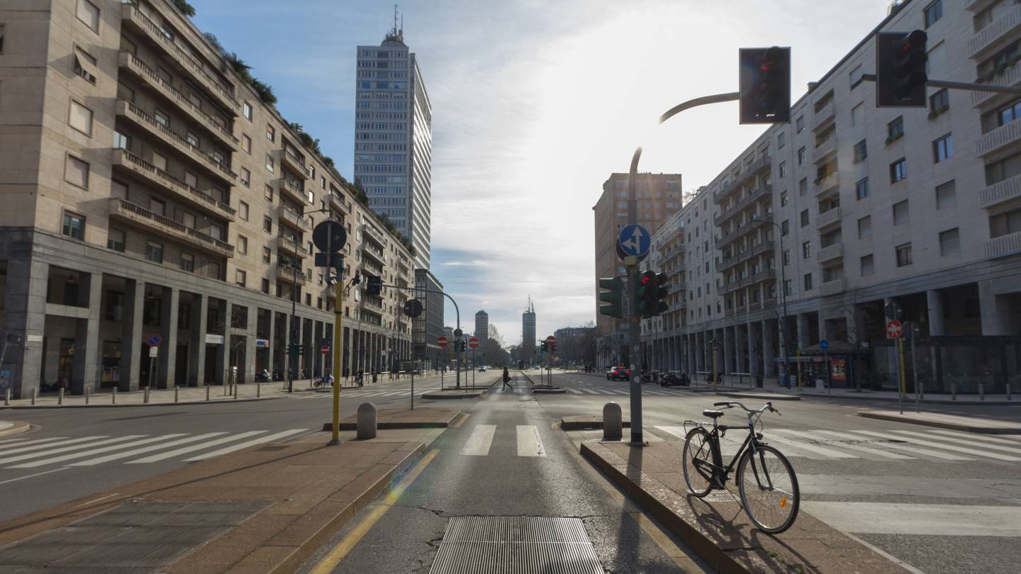 Victor Pisani Street in Milan, which has been locked down to prevent the spread of the coronavirus.