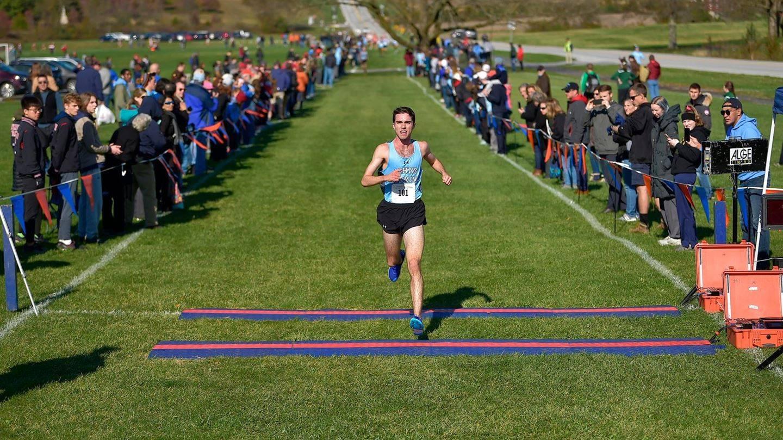Johns Hopkins junior Jared Pangallozzi crosses the finish line