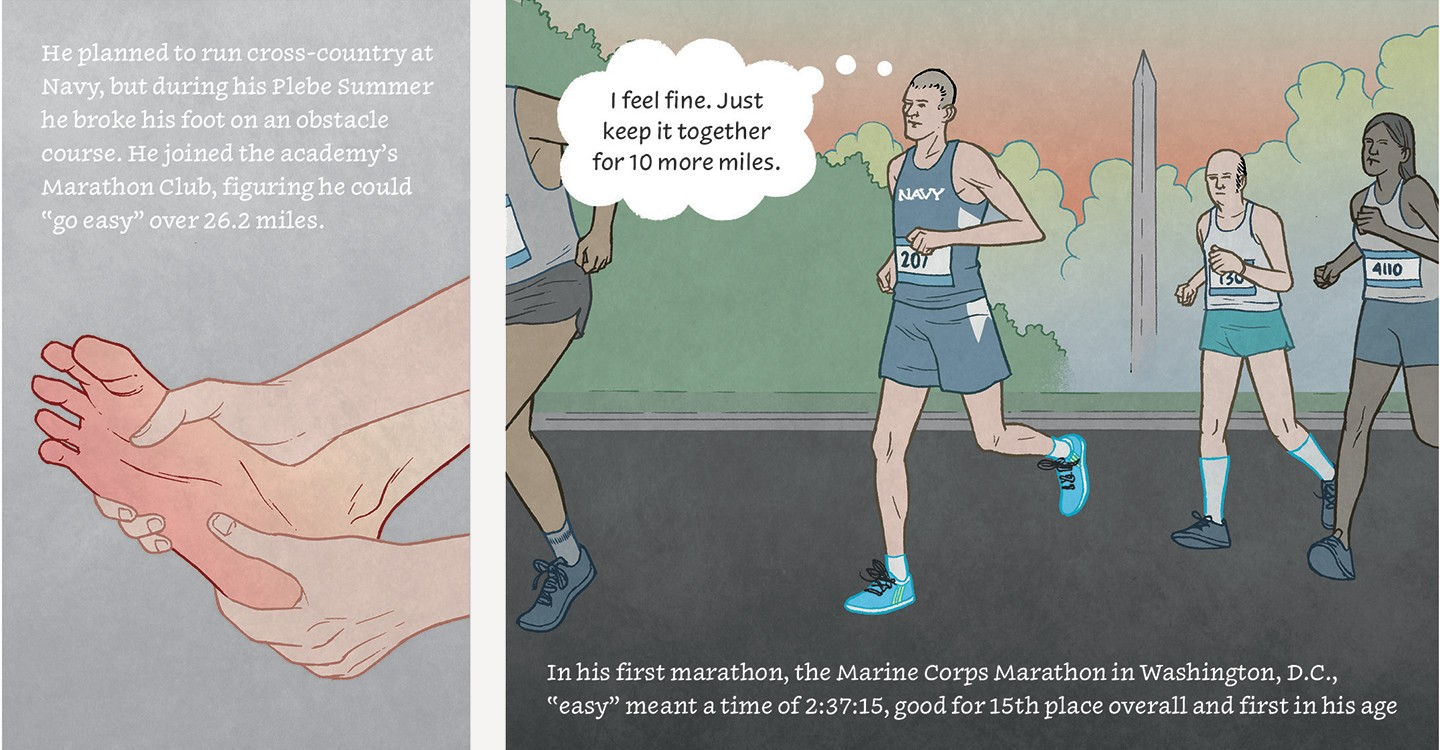 Comic strip panel describes his foot injury and his first marathon, the Marine Corps marathon