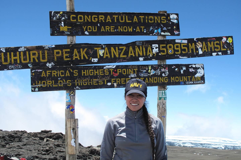 Keaton atop the Kilimanjaro summit