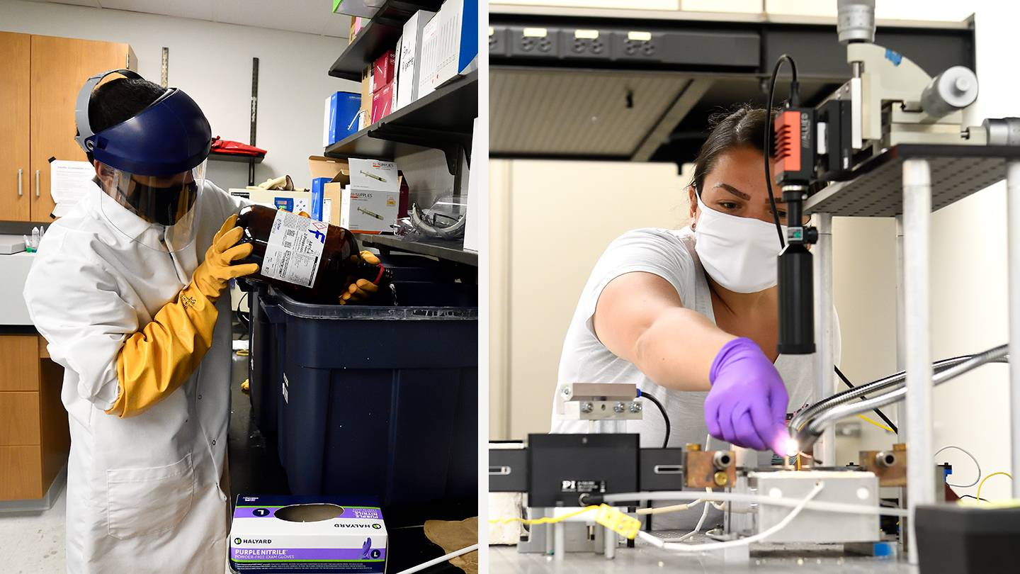 Composite image of a scientist pouring chemicals into a bin and a researcher using a complex machine