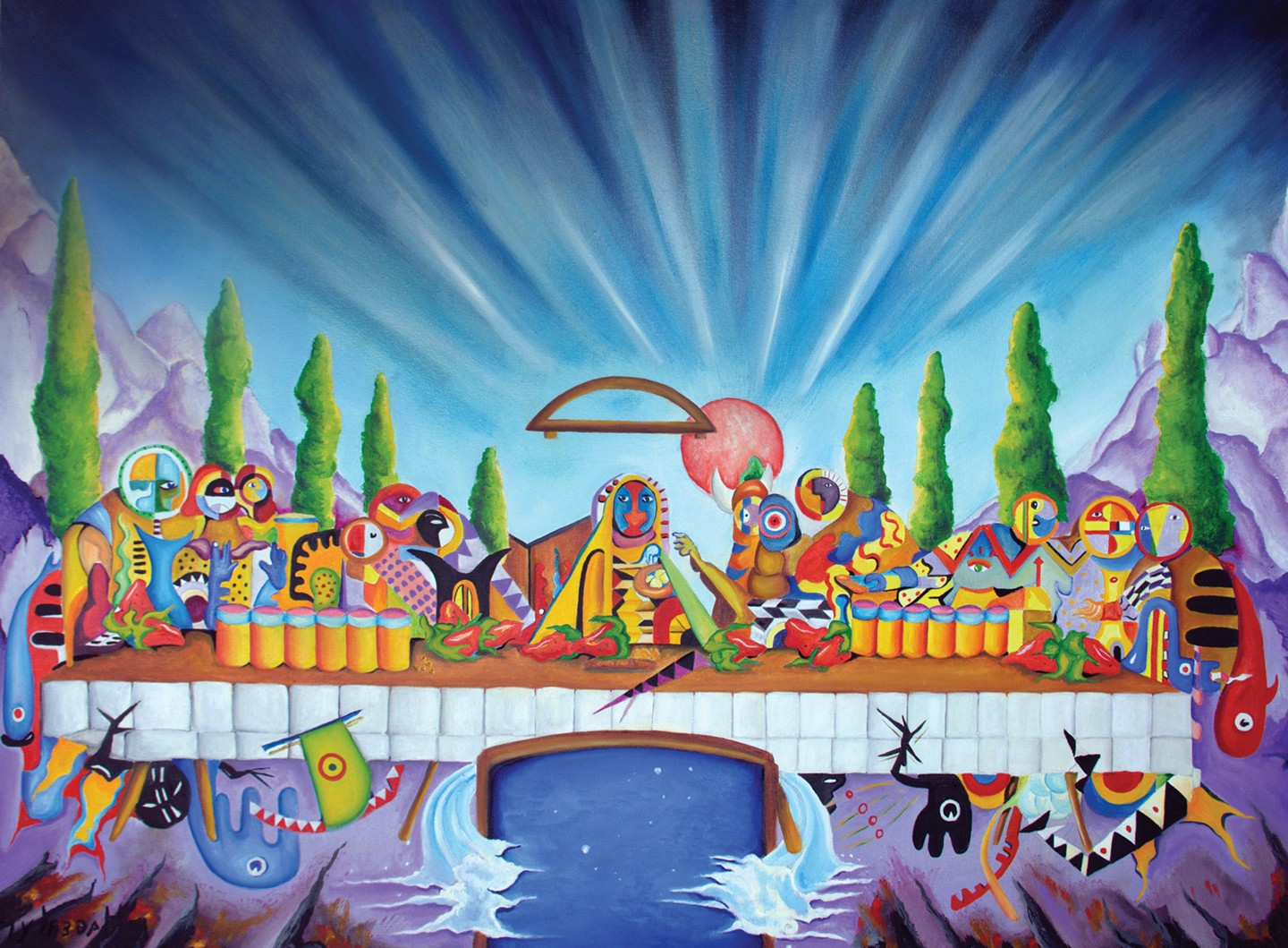 Surreal painting shows a psychedelic take on the Last Supper