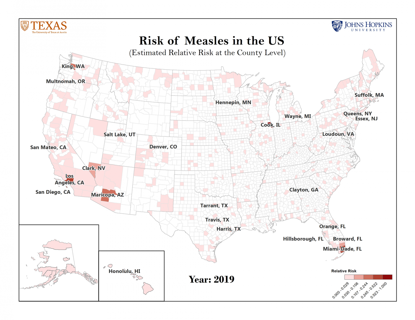 Map of U.S. counties shaded according to their level of risk