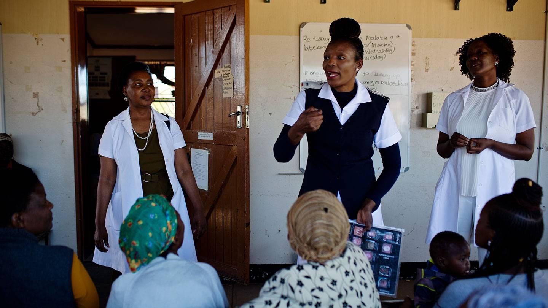 Molly Rammipi talks to patients at the Mandiba Clinic in Botswana