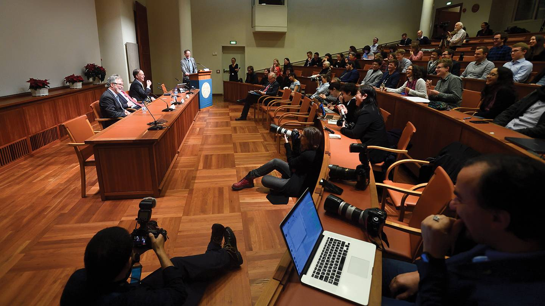 Nobel laureates speak at a press conference in Stockholm