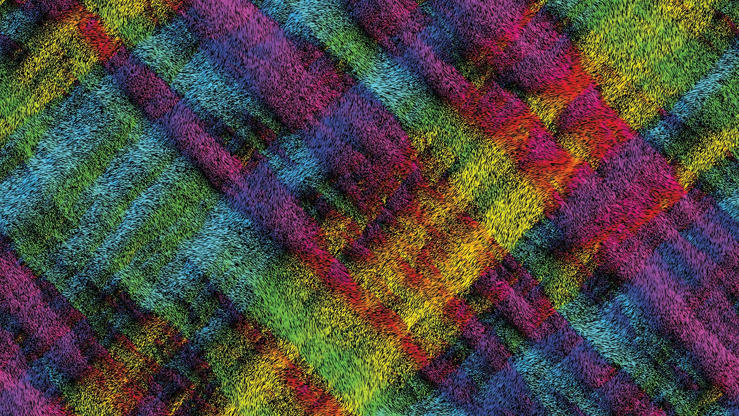 Particles in bright colors form a tartan pattern