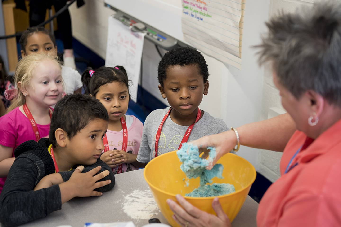 Students participating in the CTY Baltimore Emerging Scholars Summer Program add household ingredients together to make Play Doh during their Toyology class at Commodore John Rodgers Elementary/Middle School.