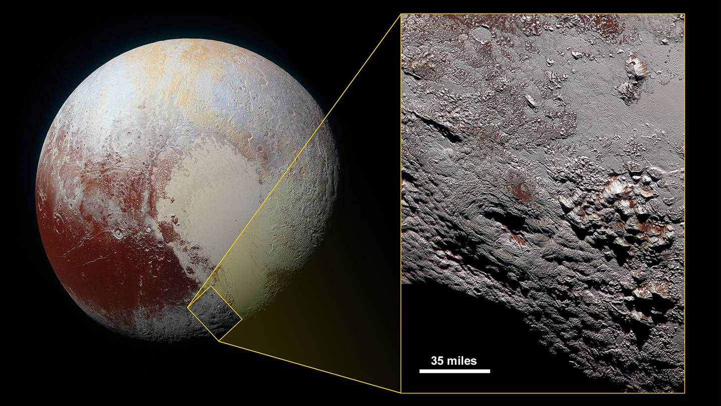 Close-up view of Wright Mons, one of two potential cryovolcanoes spotted on the surface of Pluto by the passing New Horizons spacecraft in July 2015