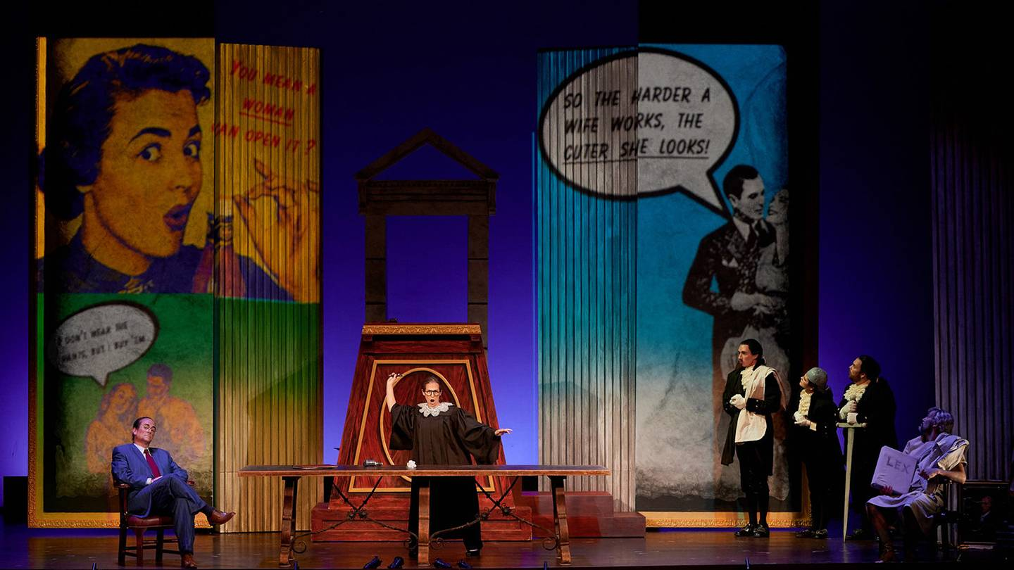 Stage actors perform in Scalia/Ginsburg