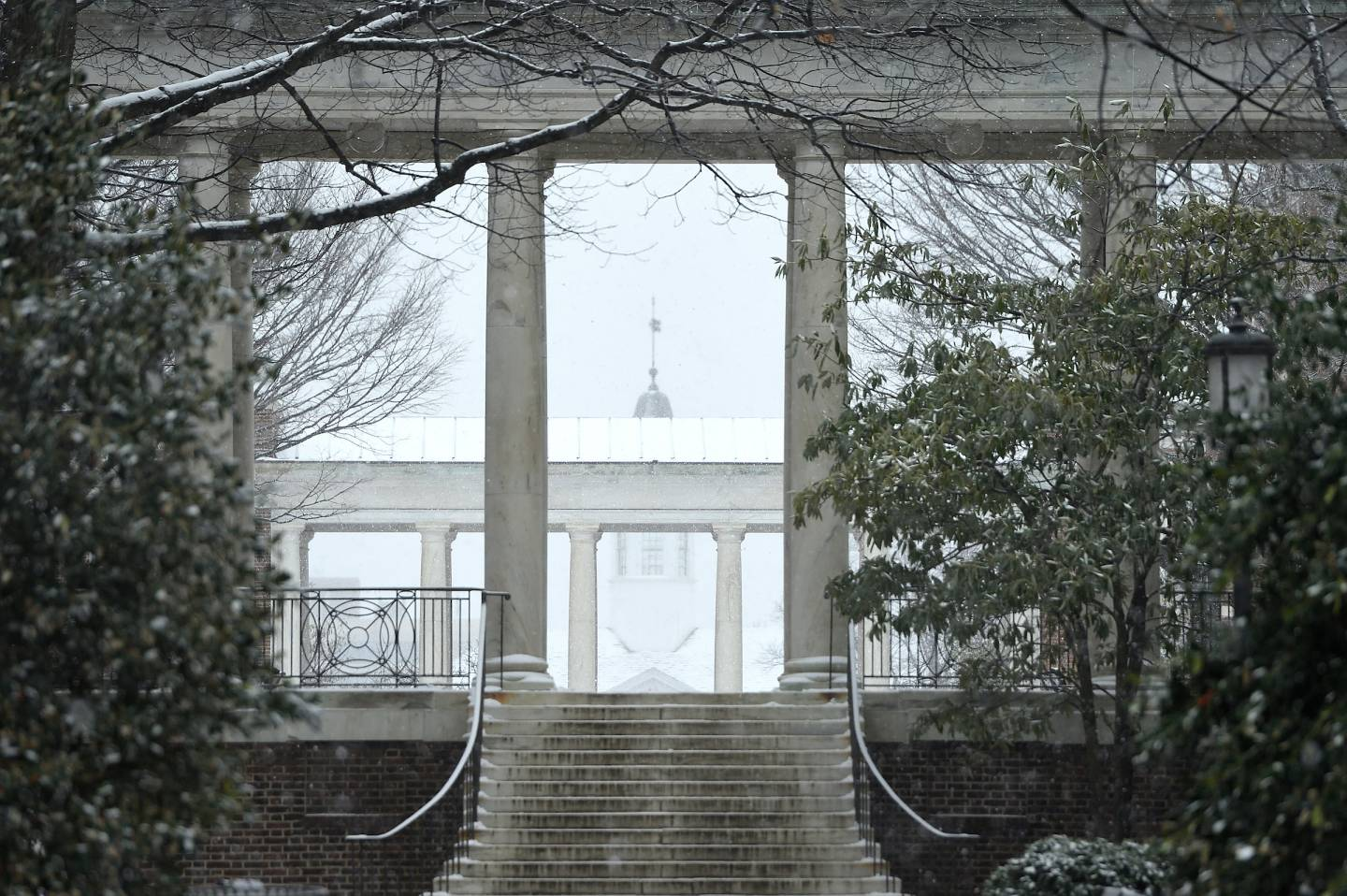 A campus archway in the snow