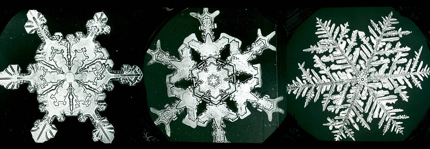 Composite image of three snow crystals