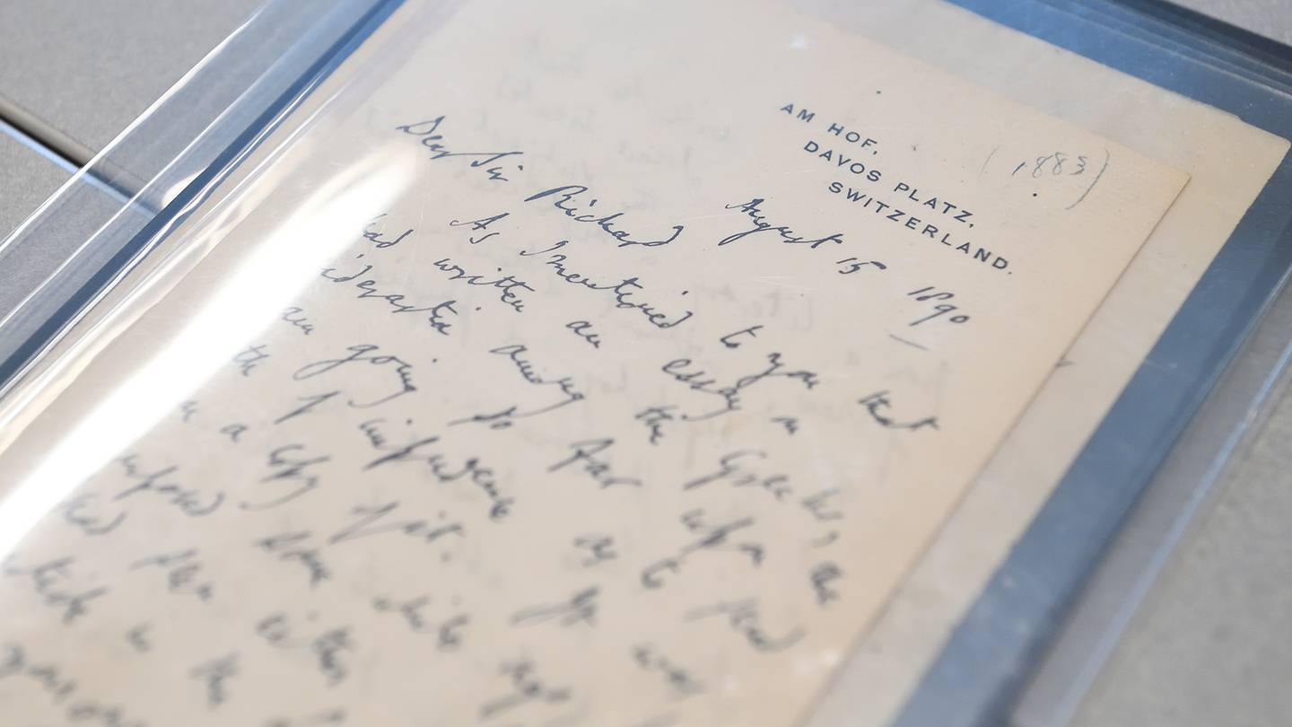 Close-up of a letter written by John Addington Symonds