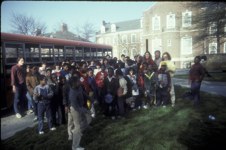Kids outside a bus