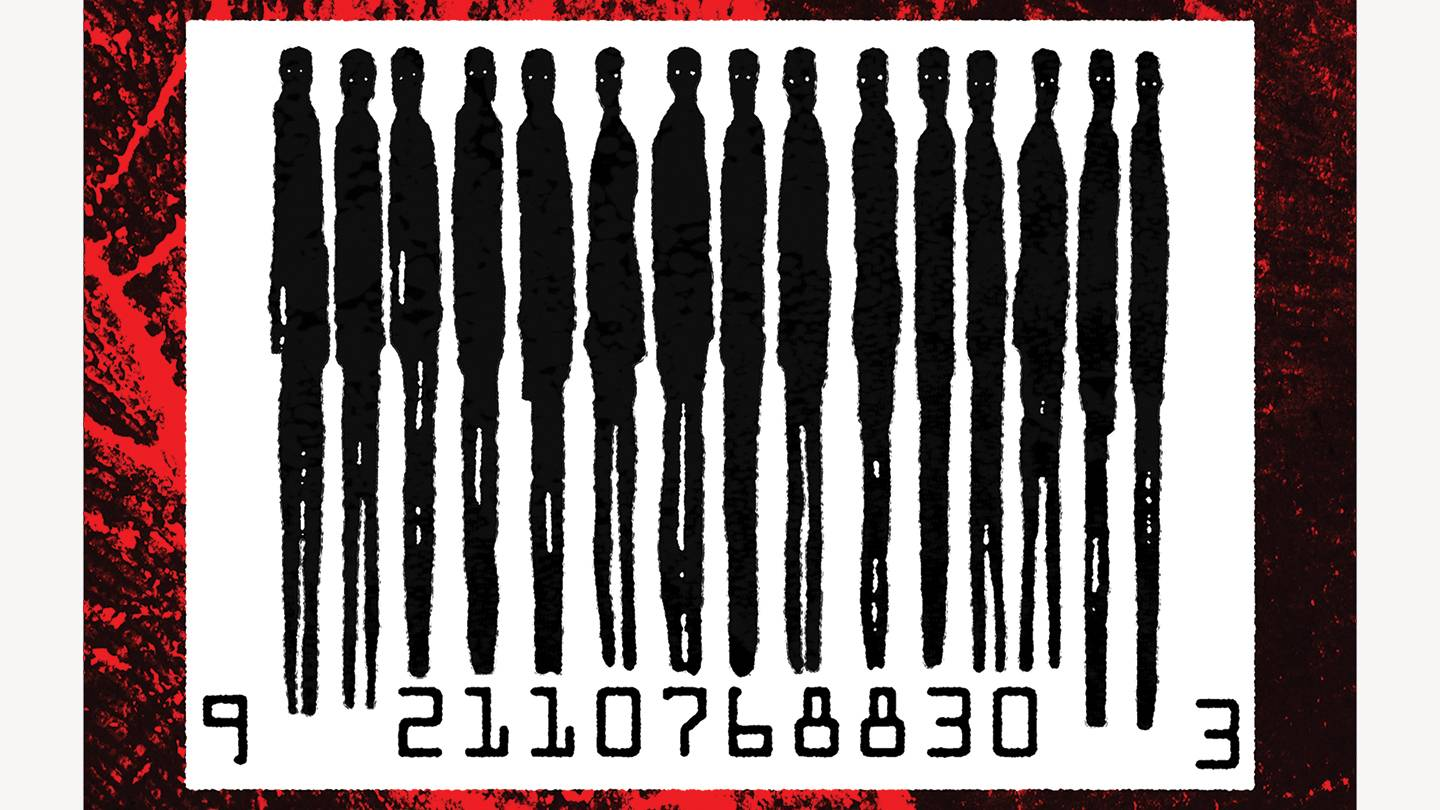 Abstract illustration in which a barcode's lines are made up of human silhouettes