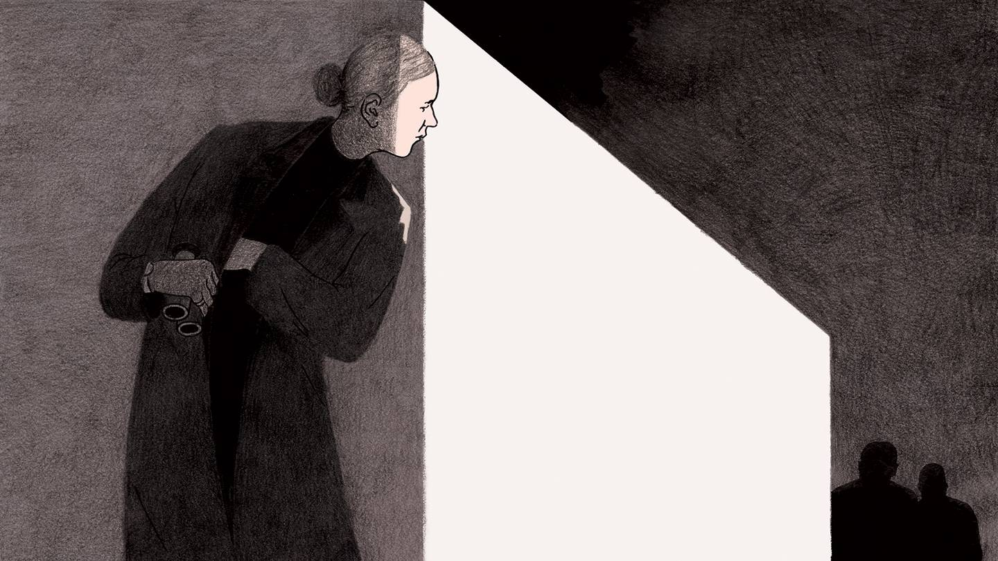 Illustration of a woman spy peering around the corner