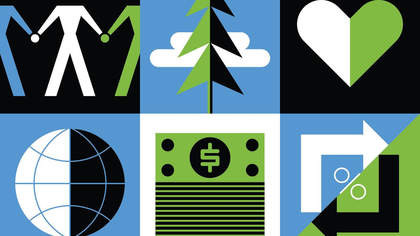 Graphic of dollar bills, hearts, trees, and people