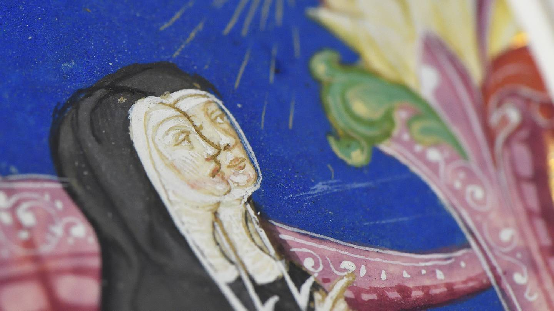 Detail of hand-illuminated drawing of nuns