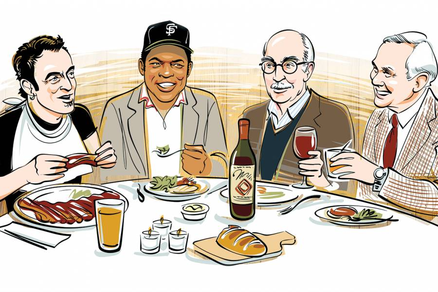 Illustration of Roger Angell, Willie Mays, Bruce Springsteen, and Johnny Carson