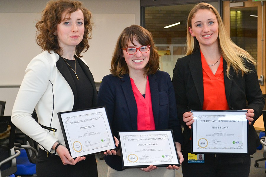 Top three finishers in Johns Hopkins 3-Minute Thesis competition