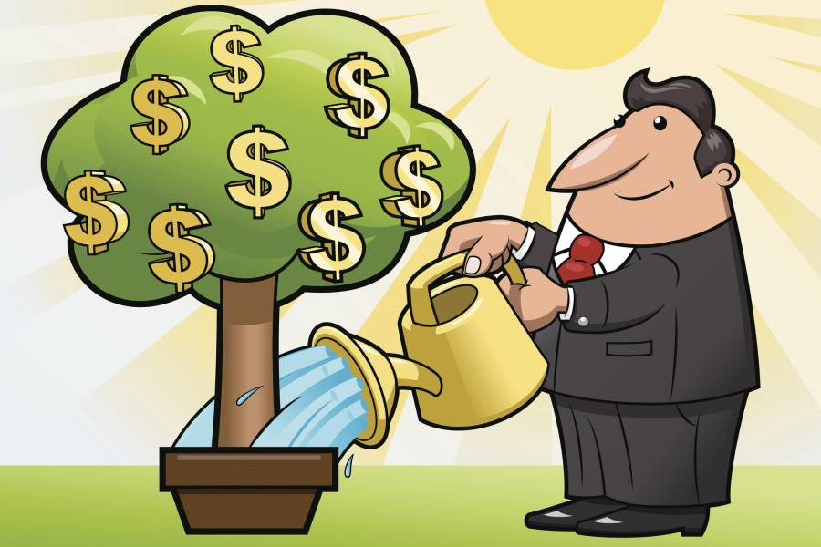 Illustration of man watering tree that's growing dollar signs