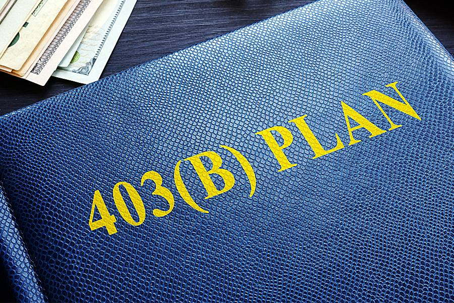 Book labeled 403(b) Plan