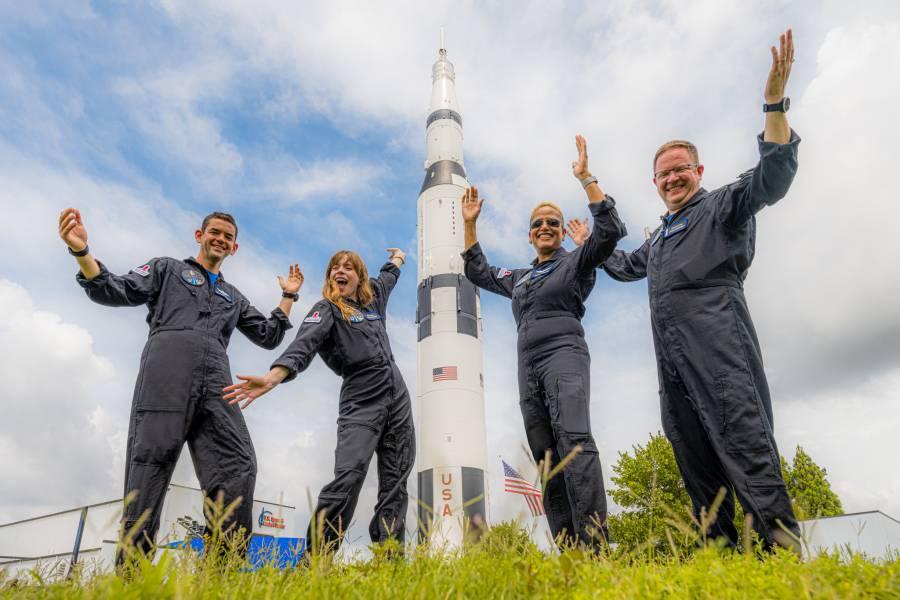Space Camp visit for Inspiration4 in Huntsville, Alabama, July 1, 2021