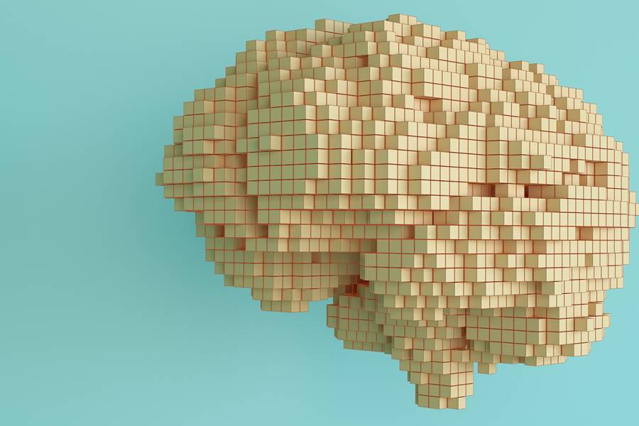 Illustration of a brain made of building blocks