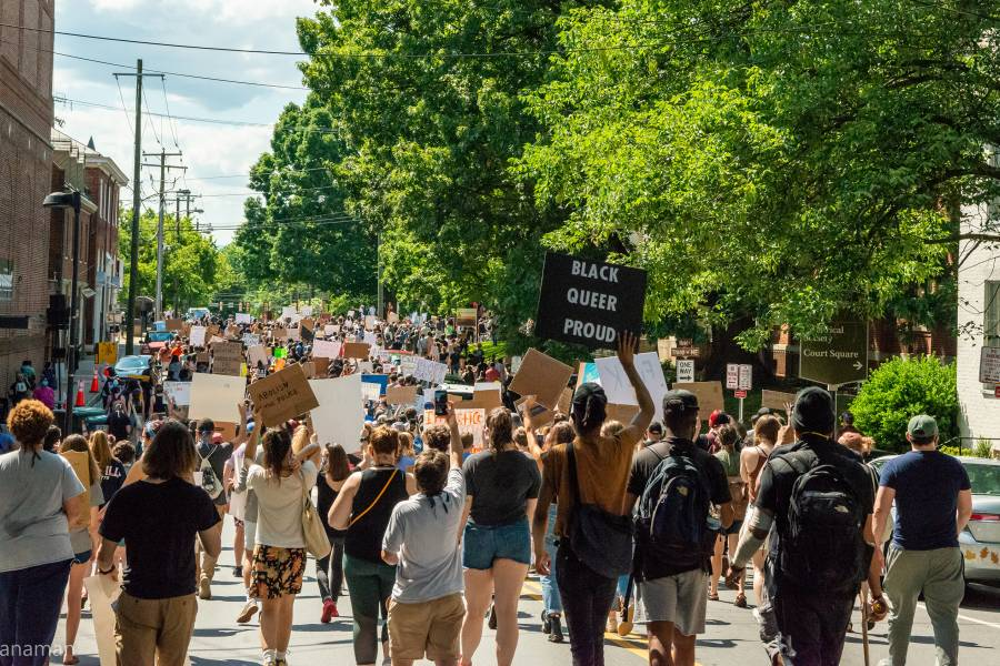 A Black Lives Matter protest takes place in Charlottesville, Virginia