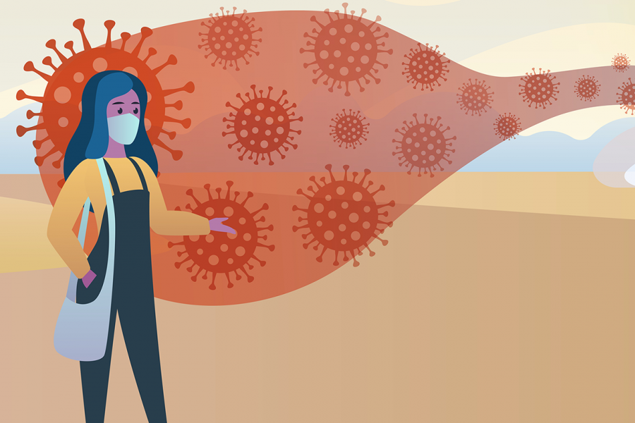 Detail from infographic shows an infected woman speaking