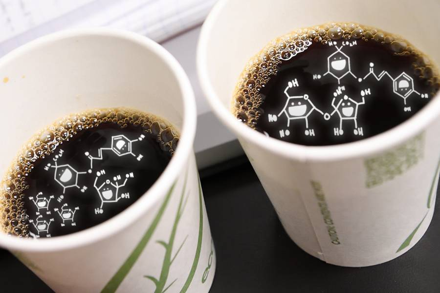 Chemistry symbols in coffee