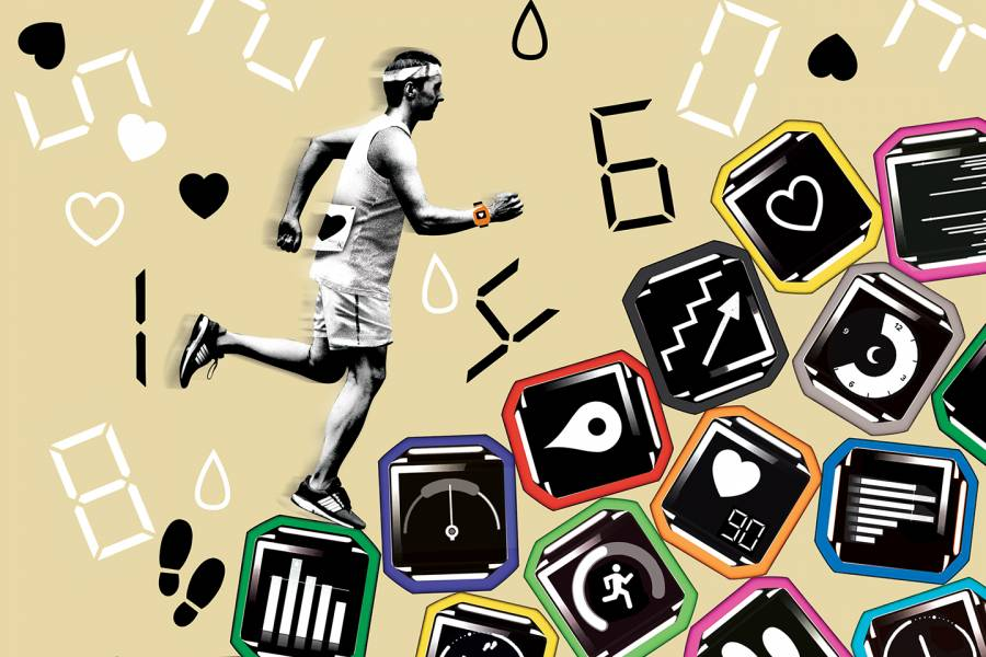 A runner on a mountain of fitness apps