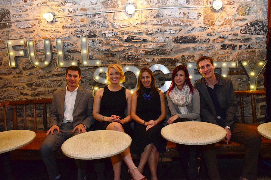 Paige Cantlin (center) launches the app Full Society with her four-person team