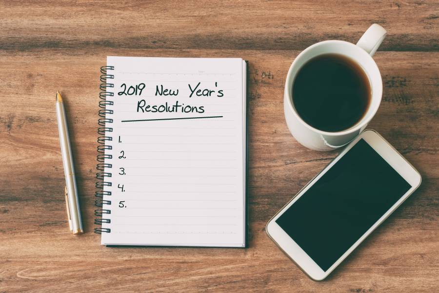 Image of an unfilled list of 2019 resolutions
