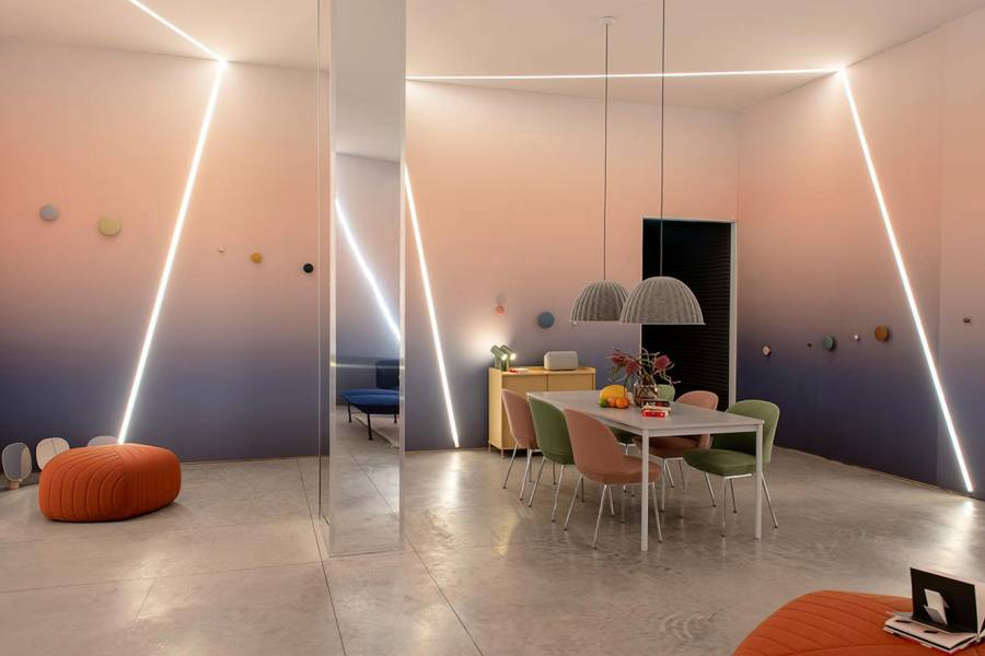A calming room painted in peach and purple tones