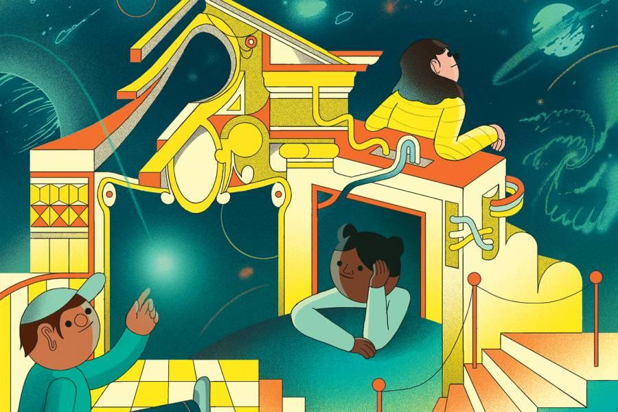 Illustration of curious children exploring space