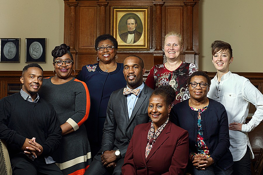 A photograph of the eight 20176 Community Service Award recipients