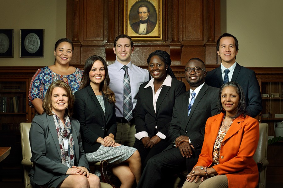 MLK Jr. Commemoration honorees, from left: Leigh Goetzke, Alexia Camm, Jessica Havern, Panagis Galiatsatos, Yvette Hicks, Charles Odonkor, Daniel Pham, Carlisa Jones