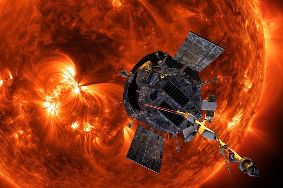 Artist's rendering of the probe approaching the sun