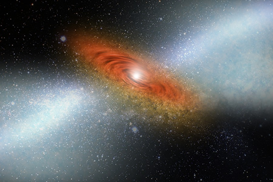 Space dust is illuminated by a quasar in an artist's rendition of the astronomical process