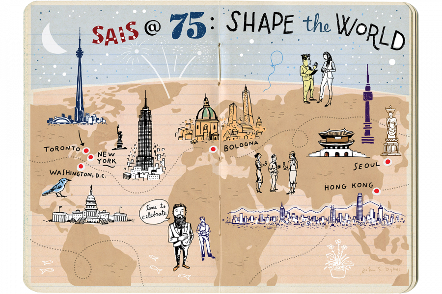 Illustration of a notebook with SAIS celebration doodles