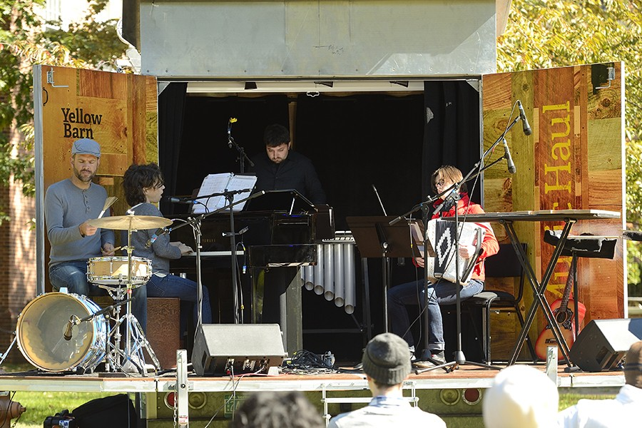 Musicians play on Yellow Barn Music Haul stage: Ian Rosenbaum on vibraphone, Carla Kihlstedt on piano, Merima Kluco on accordion, Matthias Bossi on drums