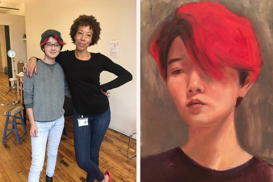 Composite image of Victoria Yeh and Amy Sherald and a portrait
