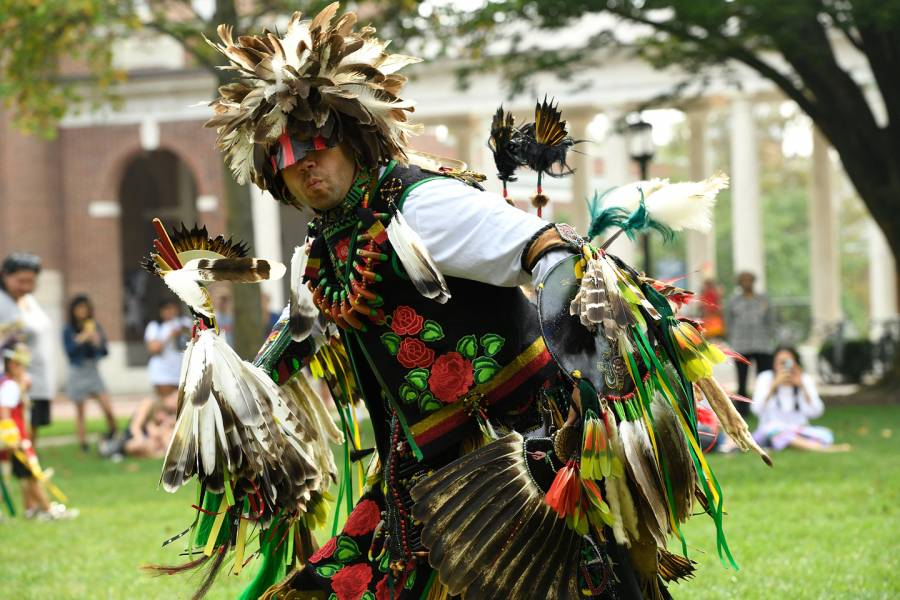 Dancers perform at the 2018 Indigenous Peoples Day Pow Wow