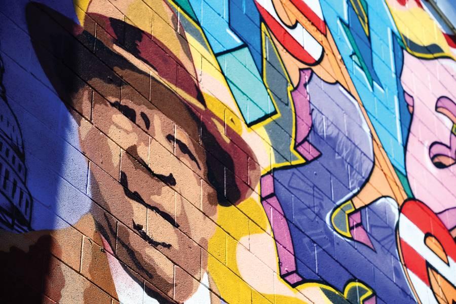 Detail of mural depicting Elijah E. Cumming's face and likeness