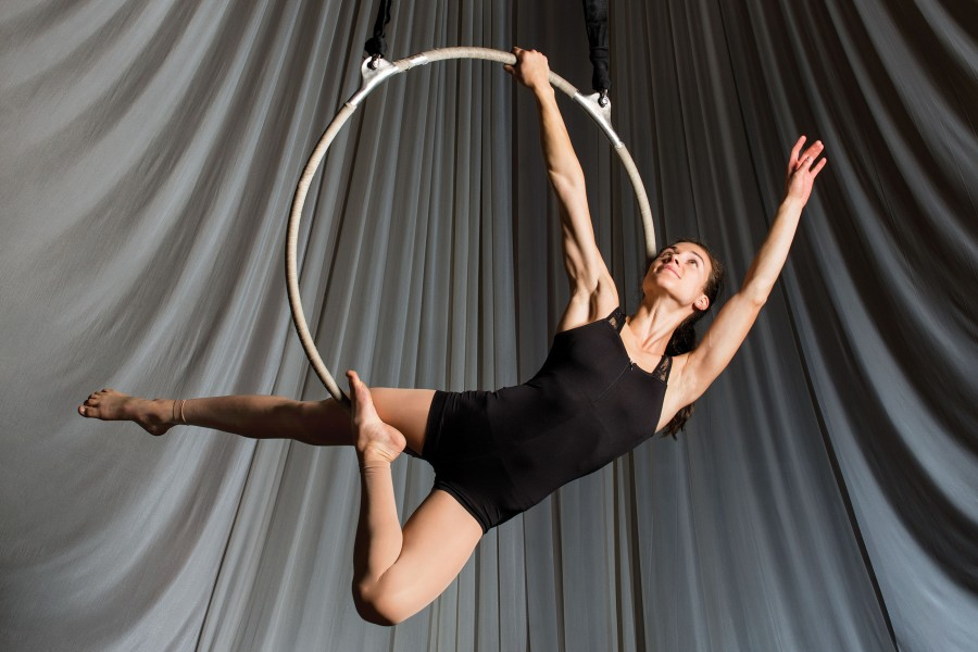 Johns Hopkins student Marni Epstein performs aerial circus acts