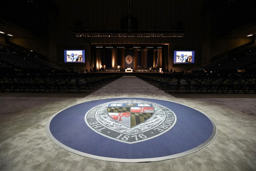 Inside of Royal Farms Arena before commencement ceremony