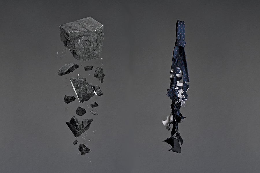 Image shows two broken down images. One is a disintegrating block, the other is a disintegrating tie